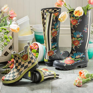 Courtly Check Rain Boots - Short - Size 8