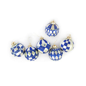 Royal Glass Ball Ornaments - Set of 6