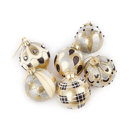 Golden Hour Glass Ball Ornaments - Set of 6