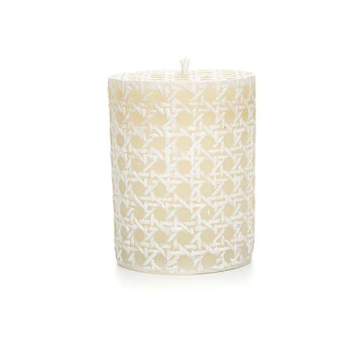 Rattan Pillar Candle - 4* - White