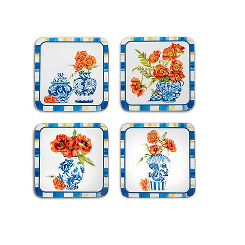 Chinoiserie Cork Back Coasters - Set Of 4