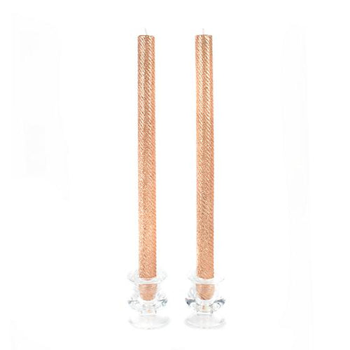 Shimmer Dinner Candles - Rose Gold - Set Of 2