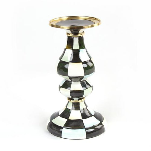Courtly Check Enamel Pillar Candlestick - Medium