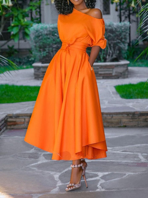 OBLIQUE COLLAR SHORT SLEEVE MAXI DRESS