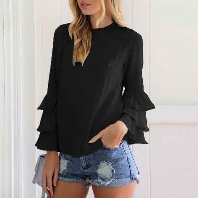 EMILY LARGE SIZE THIN CHIFFON SHIRT
