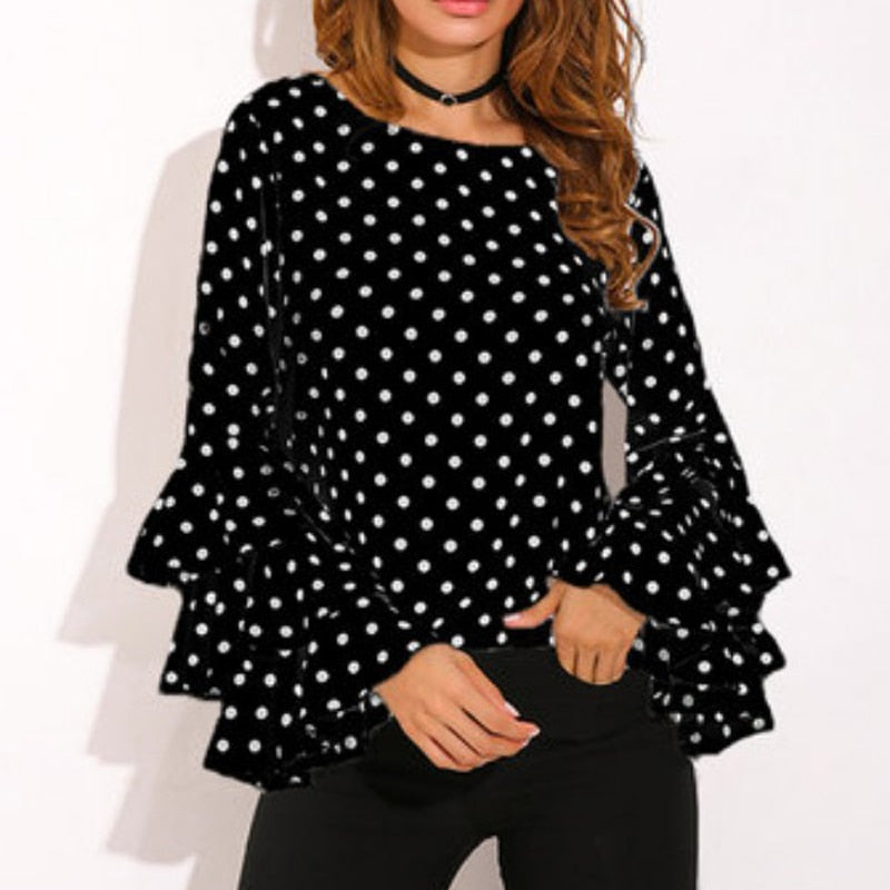 POLKA DOT SLEEVE PLUS SIZE TOPS