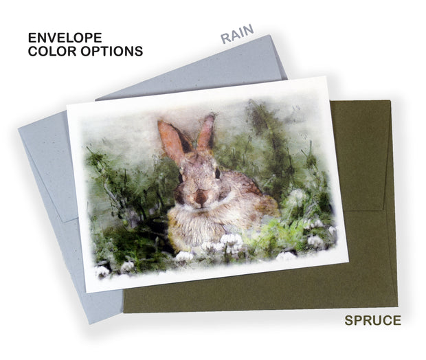 Set of 10 Watercolor Rabbit Printed Note Cards