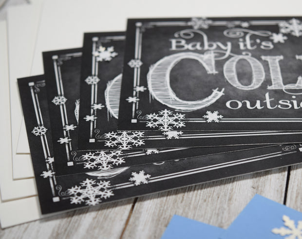 Blue and White Baby it's Cold Outside Christmas Card Kit - Set of 5 or 10