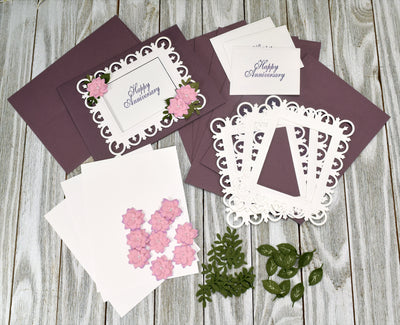 DIY Purple and White Anniversary Card Kit - Set of 4