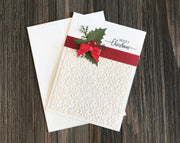 Beautifully Embossed Merry Christmas Card Kit - Set of 5