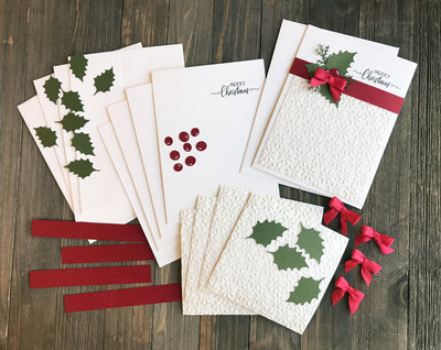 Beautifully Embossed Merry Christmas Card Kit - Set of 5 or 10