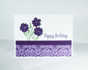 DIY Handmade Purple and White Birthday Card kit - Set of 5