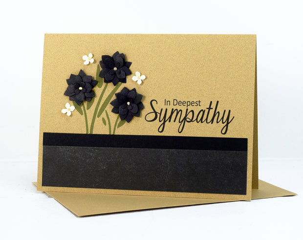 Handmade Sympathy Card Kit with black floral embellishments - Set of 5