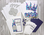DIY Gnome Birthday Card set in purple and white - Pineapple Soup Exclusive - Set of 5