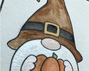 Watercolor Gnome Thanksgiving Card Kit - October Card of the Month