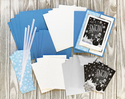 Let it Snow Holiday Card in blue with white snowflakes - Set of 5