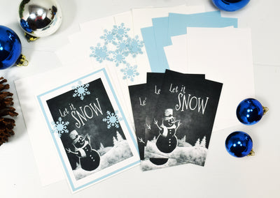 DIY Let it Snow Holiday Card Kit - Set of 4