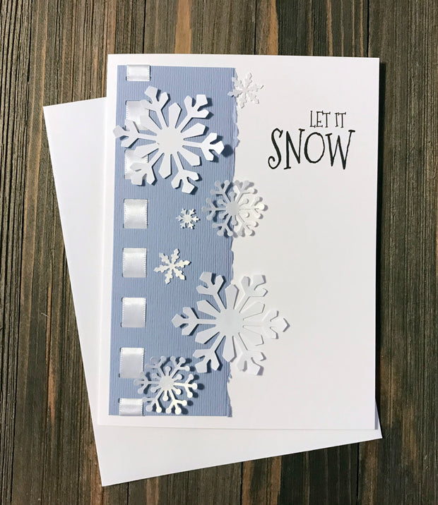DIY Handmade Let it Snow Holiday Card in blue with white snowflakes - Set of 5 or 10