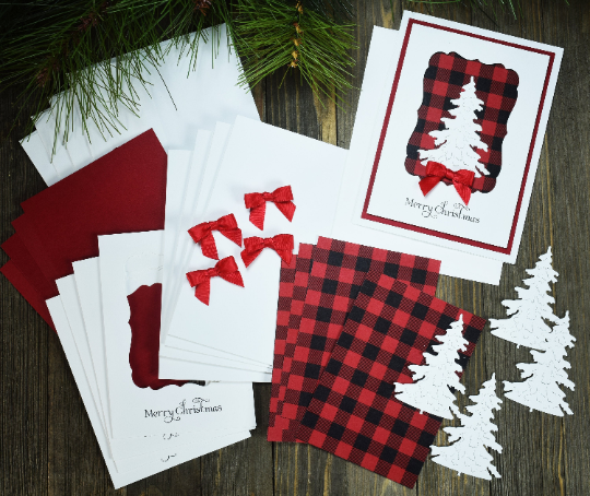 DIY Handmade Buffalo Plain Christmas Card Kit - Set of 4