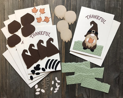 Thankful Gnome Thanksgiving Card Kit - Set of 5
