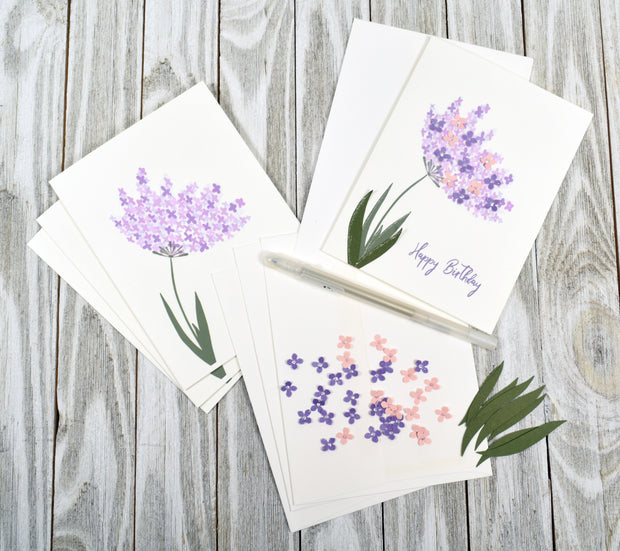 Purple Flower Birthday Card Kit - Set of 4