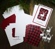 DIY Buffalo Plain Christmas Card Kit with Deer for Hunter - Set of 5
