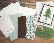 Handmade Happy Holidays Greeting Card Kit with Christmas Tree - Set of 4