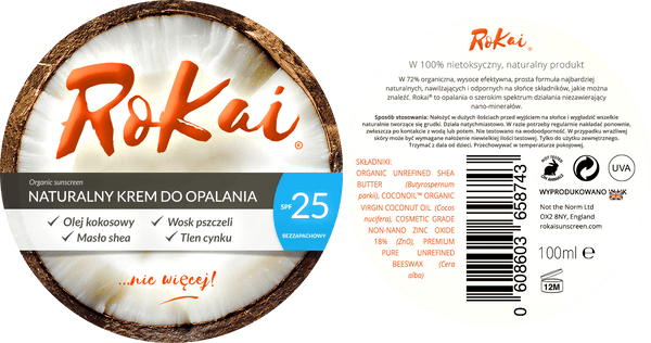 Polish RoKai Labels - Całkowicie naturalny krem do opalania -  Learn to pronounce  bez plastiku