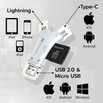 4 in 1 SD Card Reader (Compatible with iPhone/iPad/MAC/Android/Camera)
