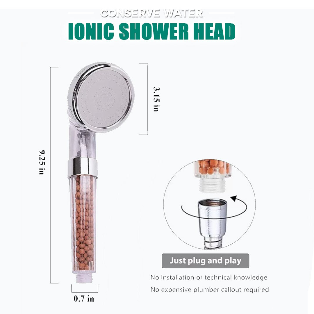 Water Saving Ionic Filter Shower Head + 1.5 M Stainless Steel Shower Hose