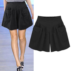 Loose Soft Cotton Wide Leg Pocket Shorts