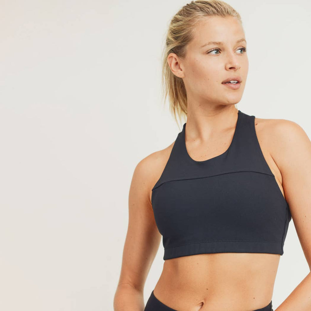 Split Front Overlay Back Adjustable Sports Bra in Black
