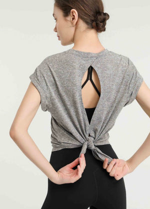 Tie Back Workout Top in Gray