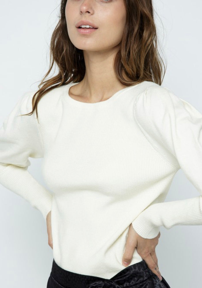 Long Sleeve Sweater with Puff Sleeves and Cuff Details in Ivory