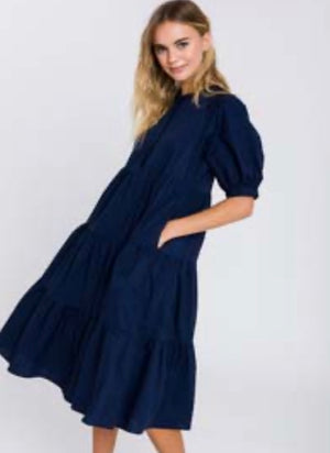 Tiered Dress with Flutter Sleeves