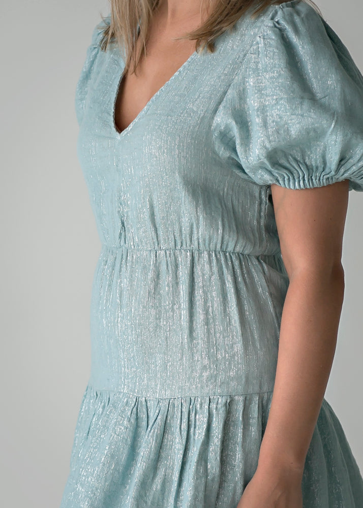 Pale Blue Puff Sleeve Dress with Metallic Threading