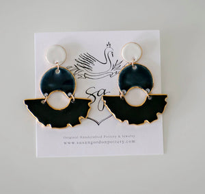 Swan Chandelier Earrings by Susan Gordon Pottery