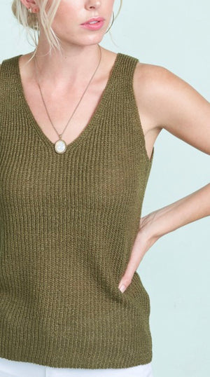 Olive Knit Sleeveless Top