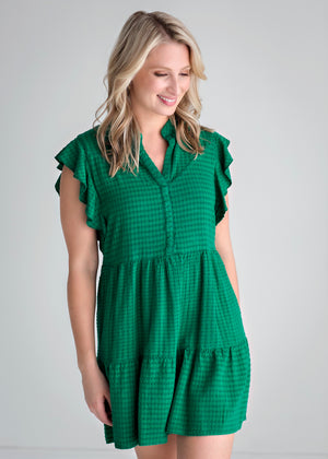 Flutter Sleeve Dress in Kelly Green