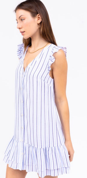 Ruffle Short Sleeve Dress in Blue Stripe