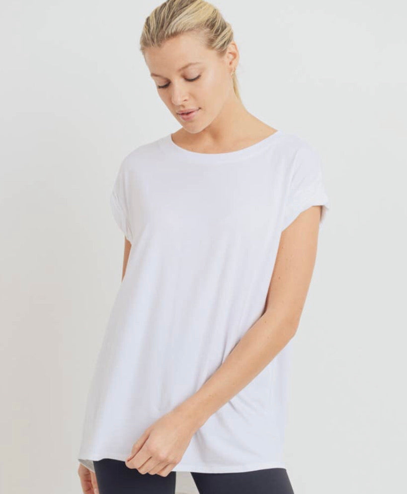 Essential Cap-Sleeve Solid Athleisure Flow Top
