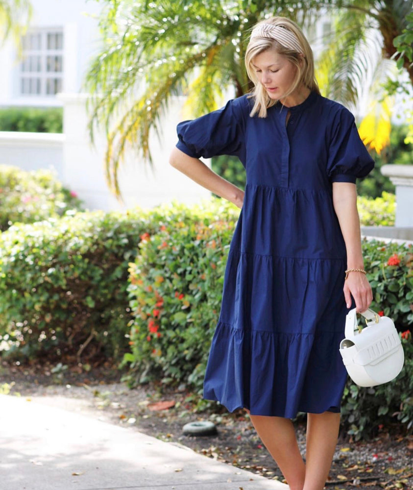 Navy Short Sleeve Poplin Midi Dress