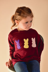 Maroon bamboo french terry bunnies crew neck