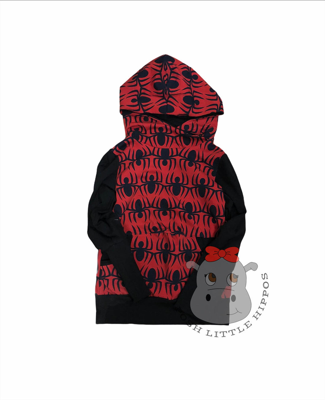 Grow with me hoodie with pockets - spiders (size 6-9y)