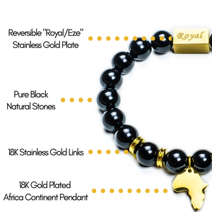 """One Africa"" Bracelets W/ Reversible Gold Charm"