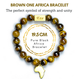 "Brown ""One Africa"" Bracelet W/ Reversible Gold Charm - ShopEzeFashionn"