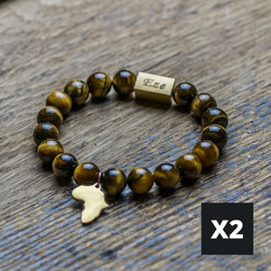 "Black ""One Africa"" Bracelet  W/ Reversible Gold Charm - ShopEzeFashionn"