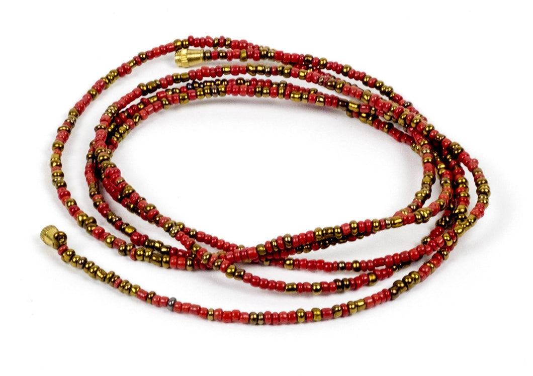 Red W/ Gold Accent! African Waist Beads- African Jewelry, Waist Beads, Belly Chain, Belly Chains - ShopEzeFashionn