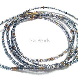 Silver W/ Gold Accent! African Waist Beads- African Jewelry, Waist Beads, Belly Chain, Belly Chains, Belly Beads - ShopEzeFashionn