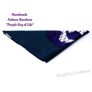 Purple Key of Life! Ankara Bandana (Handmade) - ShopEzeFashionn